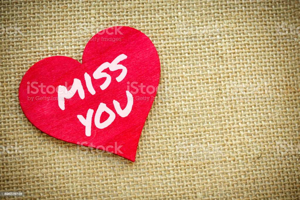 Heart With Miss You Word Isolated On A Burlap Fabric Valentines Day