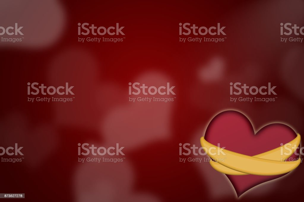 Heart with rings on red background. stock photo