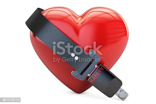 istock Heart with safety belt, safety and insurance concept. 3D rendering isolated on white background 657210724