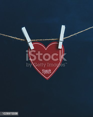 Heart with thank you message pinned to string