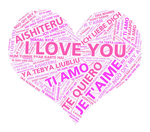 Heart with the words I love you in different languages stock photo