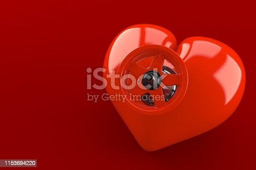 Heart with valve isolated on red background. 3d illustration
