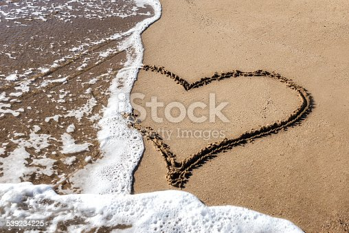 Handwritten heart shape in sand. Heart will be erased by approaching wave.