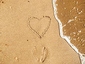 Heart written on sandy beach with wave near sea. Happy valentine's day concept. Summer vacation and honeymoon for newlyweds. Hello summer. Space for text. Happy holidays