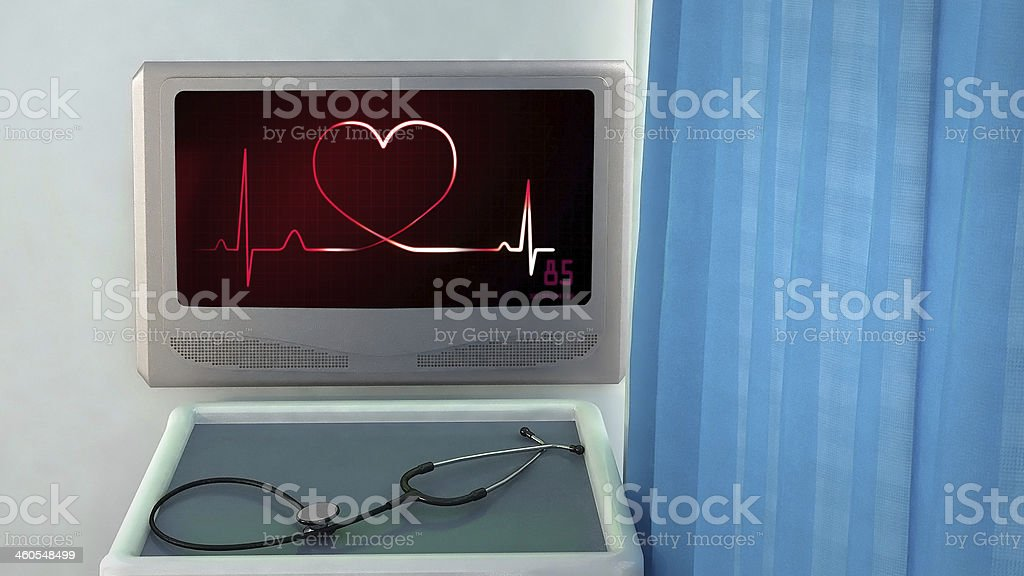 heartbeat magenta of EKG monitor royalty-free stock photo