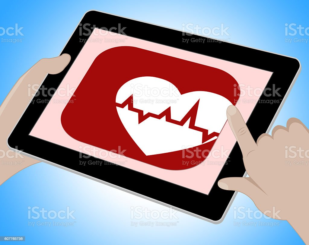 Heartbeat Online Means Pulse Trace And Cardiac stock photo