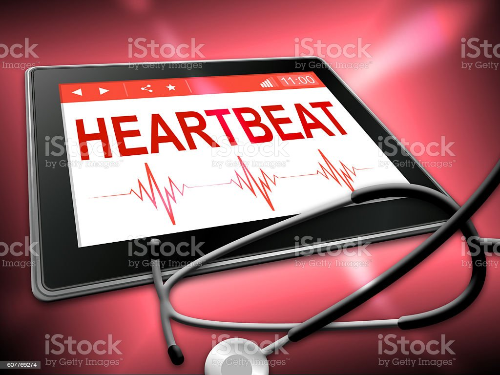 Heartbeat Tablet Means Pulse Trace And Cardiology stock photo