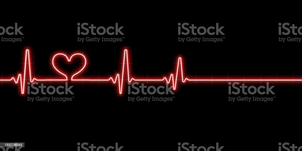 Heartbeat with heart symbol stock photo