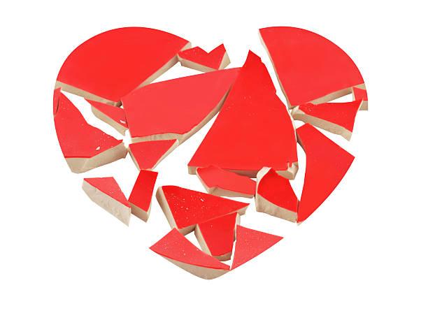 Heartbreak concept with broken heart isolated on white. bildbanksfoto