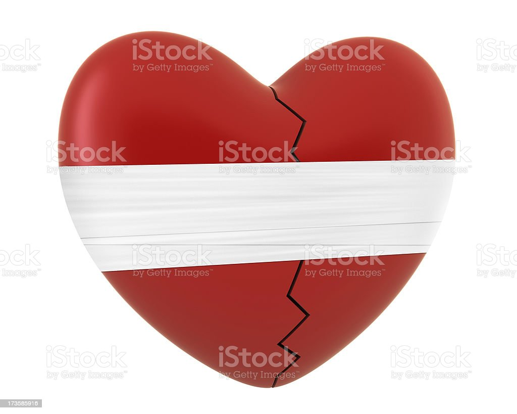 Heartbreak - red heart shape with bandage royalty-free stock photo