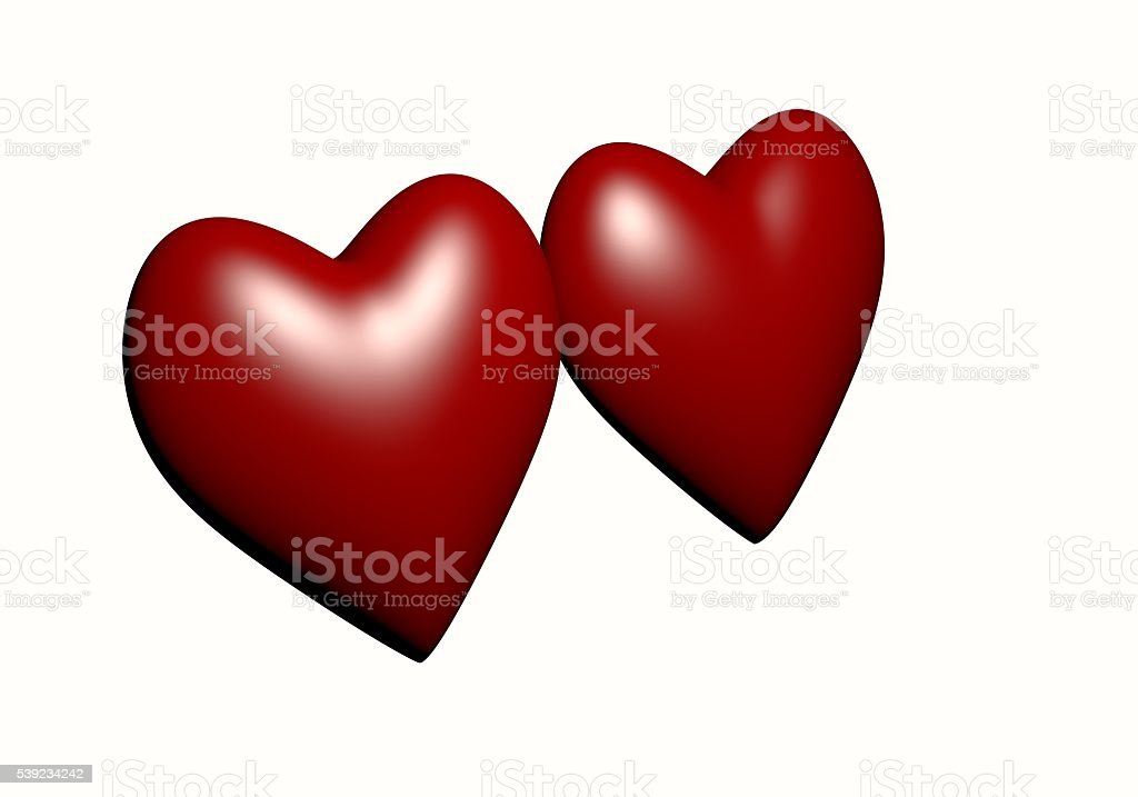 Hearts 3D rendering.Couple of  Heart Isolated on White background. royalty-free stock photo