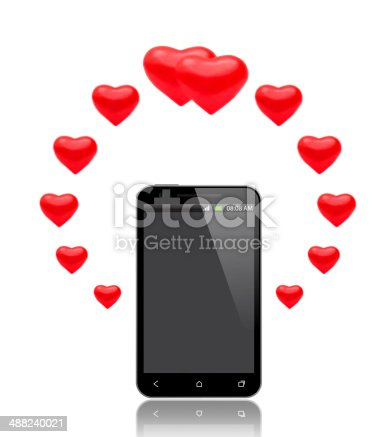 1125634019 istock photo Hearts above the Smart Phone 488240021