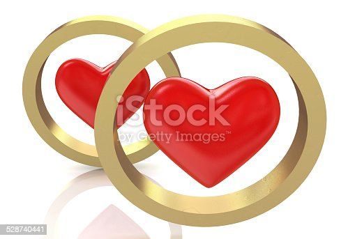 Hearts and golden rings. Love and wedding concept in the design of the information associated with love and celebration
