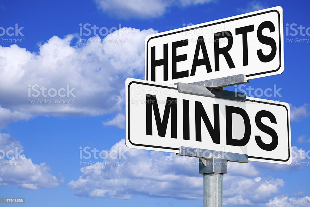 Hearts and Minds Street Intersection Sign royalty-free stock photo