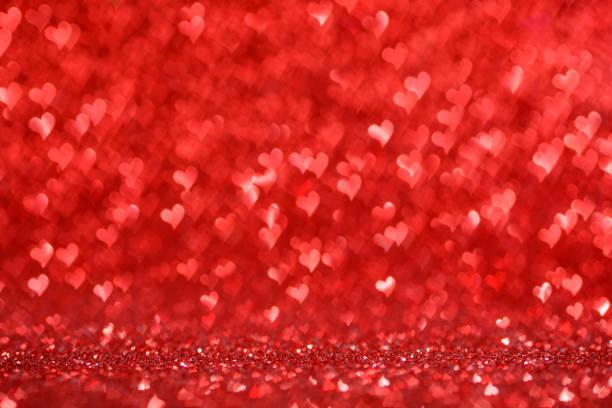 Hearts bokeh Valentine's day background stock photo