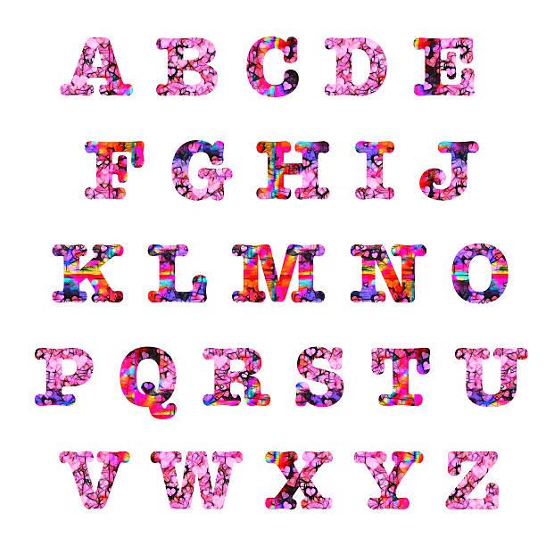 Hearts capital letters alphabet stock photo
