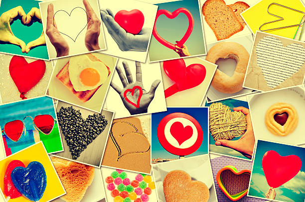hearts collage - i love you stock photos and pictures