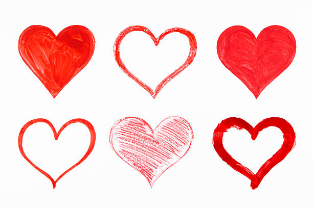 hearts drawing set - pencil drawing stock pictures, royalty-free photos & images