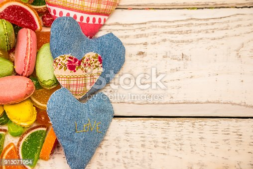 istock hearts for postcards ,sweets on the background 913071954