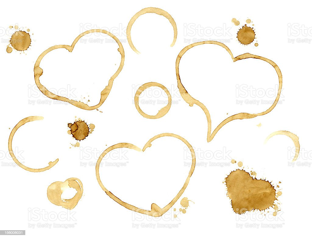Hearts from coffee drops stock photo