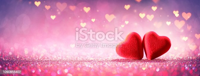 istock Hearts On Glitter In Shiny Background - Valentine's Day Concept 1090855402