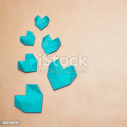 Turquoise love, 3d printed geometric heart's on brown, pack paper template