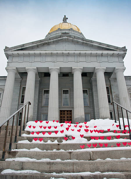 Hearts on steps of the Vermont Statehouse stock photo
