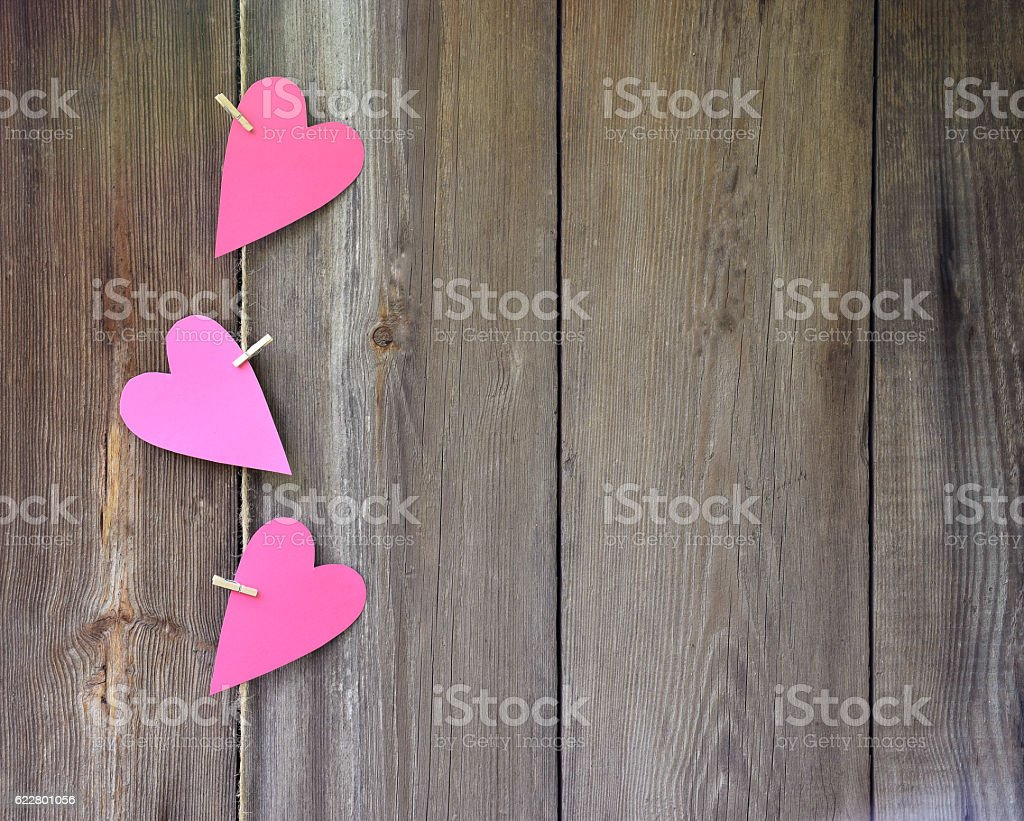 Hearts on wooden background. Feelings. Congratulations. Love. Celebratory background. stock photo