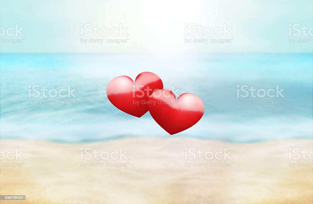 hearts summer time golden paradise photo and 3D render background royalty-free stock photo