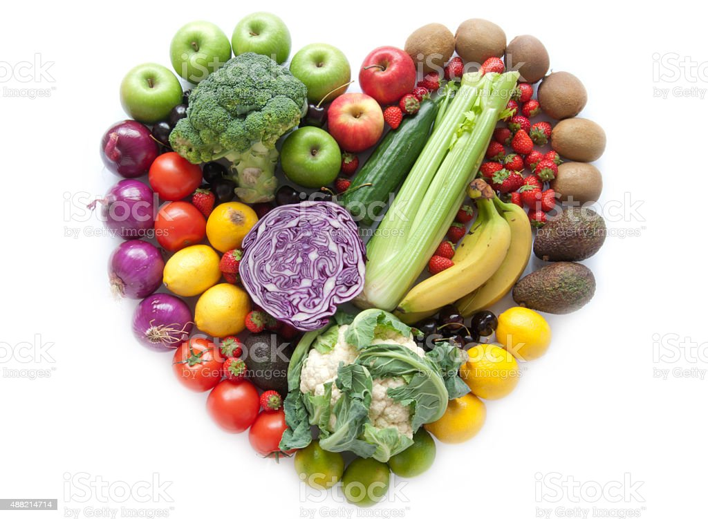 Heartshape fruits and vegetables stock photo