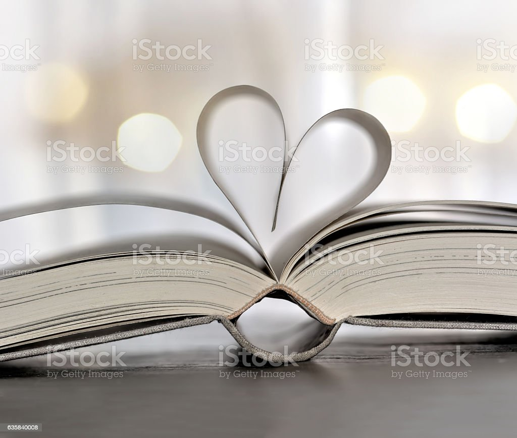 Heart-shaped book stock photo