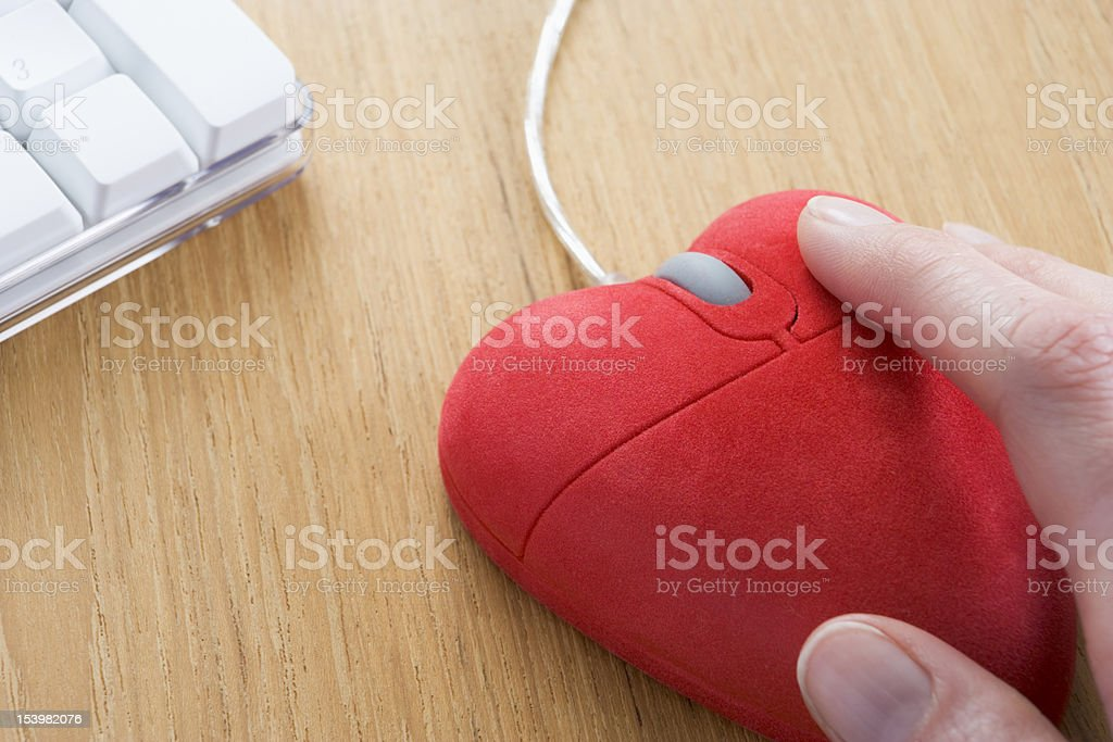 Heart-Shaped Computer Mouse stock photo