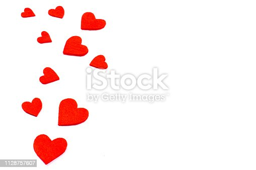 Felt fiber fabric hearts isolated on white background. Festive and celebration, Valentine's Day concept. Love symbols with copy space for text.