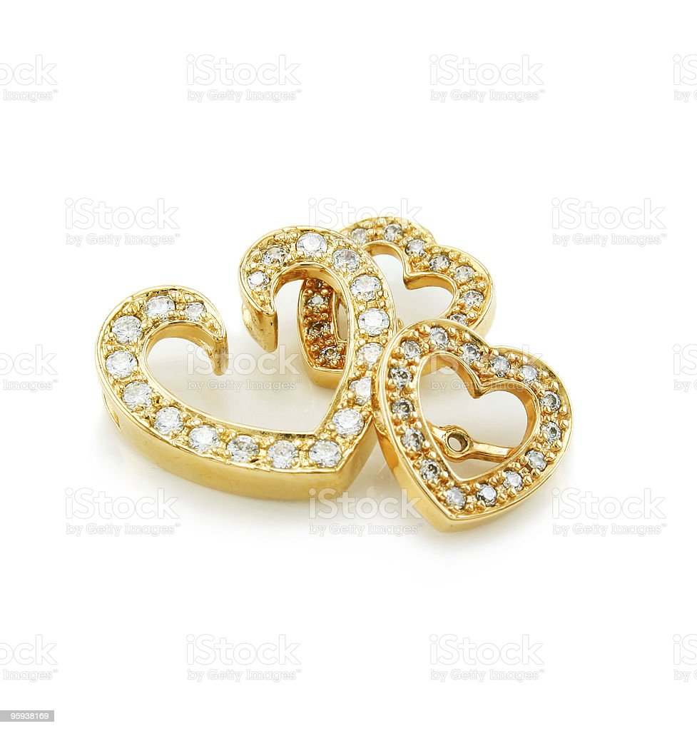 Heart-shaped jewelry (brooch and earrings) isolated royalty-free stock photo
