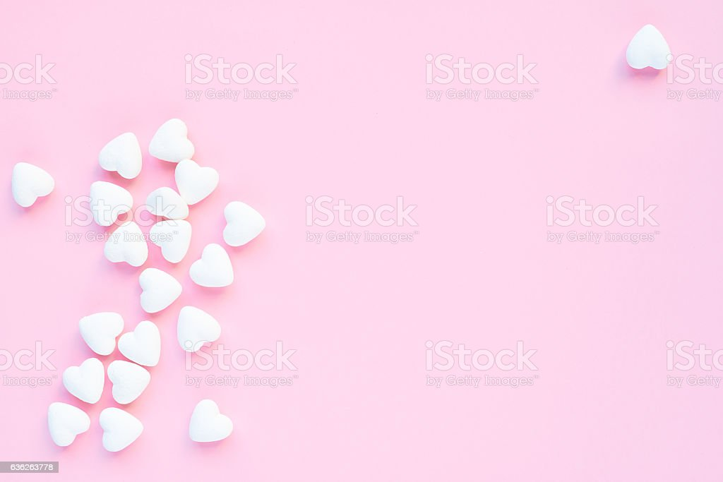 Heart-shaped marshmallows stock photo