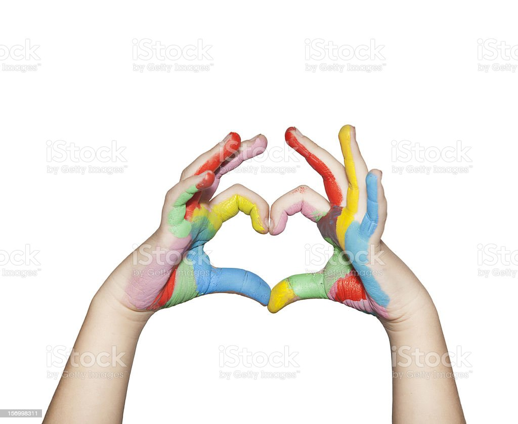 Heartshaped Painted Hands stock photo