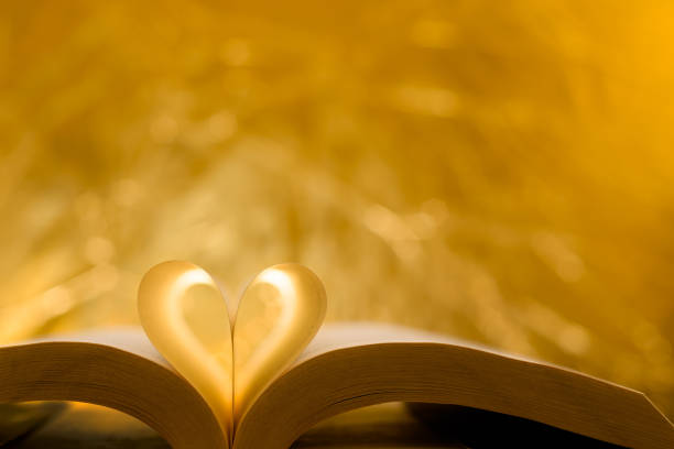 Heart-shaped paper inside a book. stock photo