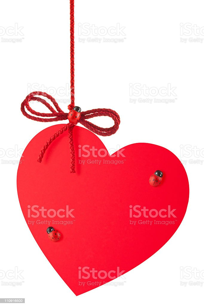 Heart-Valentine with a rope bow and toy ladybugs royalty-free stock photo