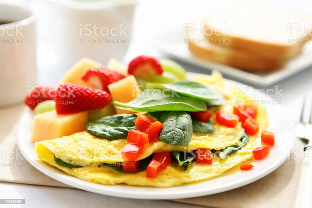 A hearty breakfast of omelet, bread and coffee  royalty-free stock photo