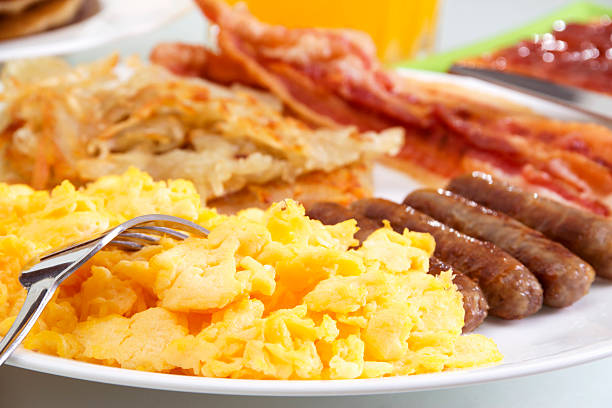 hearty breakfast - breakfast stock photos and pictures