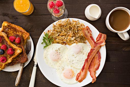 Desayuno inglés, con huevos, salchichas de pollo, tostadas con mermelada, una taza de café y zumo de naranja.