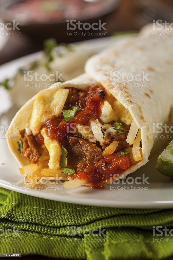 Hearty Chorizo Breakfast Burrito stock photo