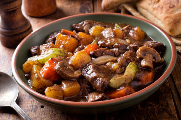 Hearty Homemade Beef Stew stock photo