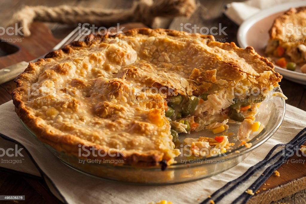 Hearty Homemade Chicken Pot Pie stock photo
