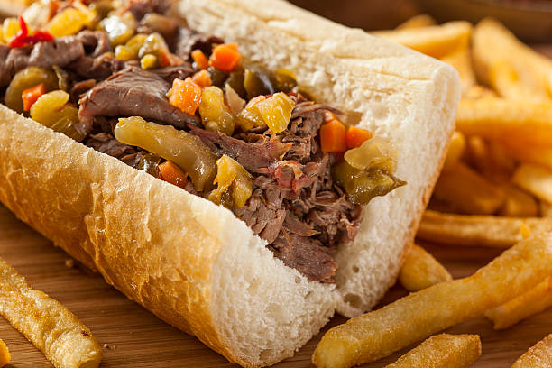hearty italian beef sandwich - beef stock pictures, royalty-free photos & images