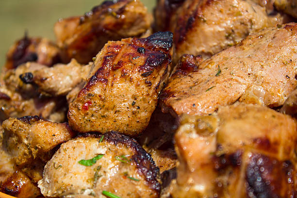 Hearty meat outdoors. stock photo
