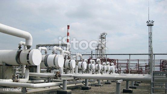 istock Heat exchangers in a refinery 1137404804