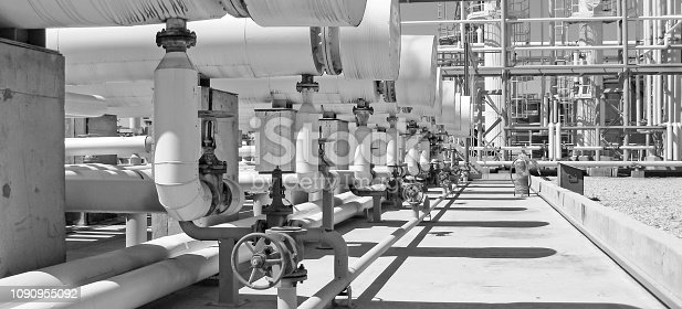 istock Heat exchangers in a refinery. The equipment for oil refining 1090955092