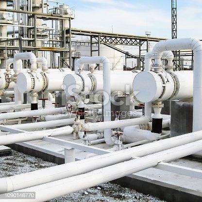 istock Heat exchangers in refineries. The equipment for oil refining. H 1090146770