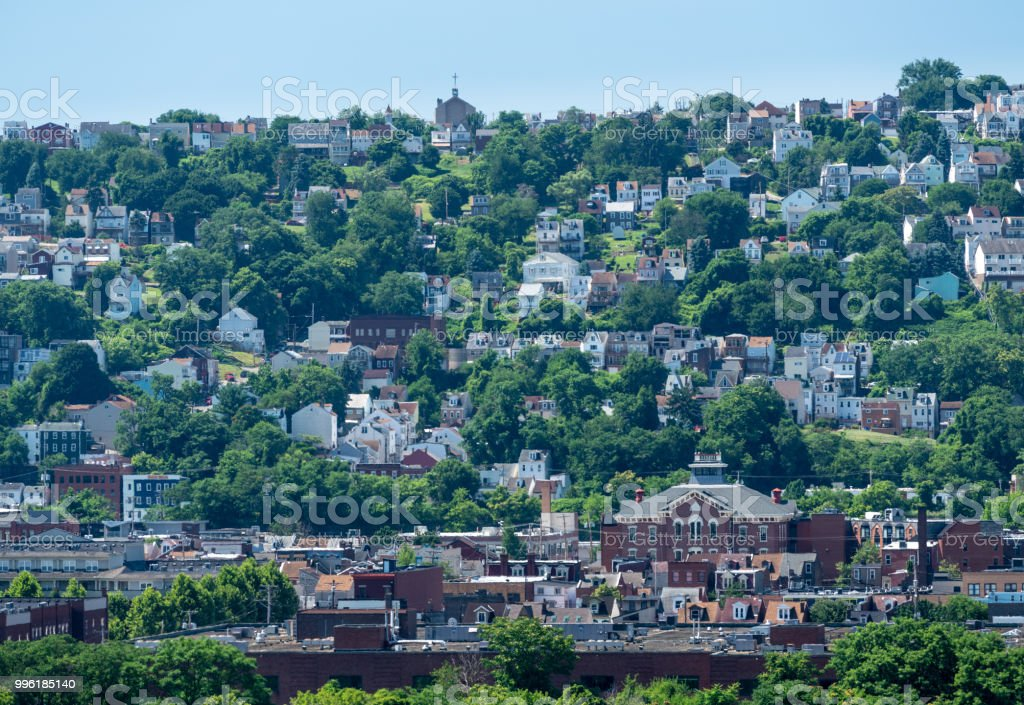 Heat haze over South Side slopes in Pittsburgh stock photo